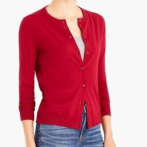 J. Crew The Caryn Cardigan Sweater Red Cotton S
